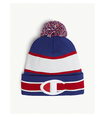 CHAMPION - Logo striped bobble hat  4fc5b61d6b9