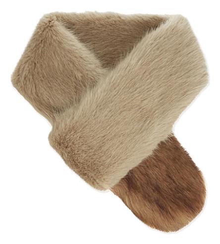 BANDITS So Crossed faux fur scarf (Beige/gold siberian