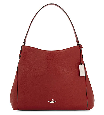 COACH Edie grained leather shopper (Sv/red+currant