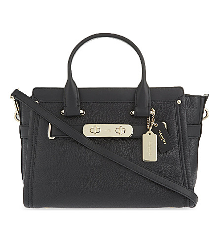 COACH Swagger grained leather tote (Li/black