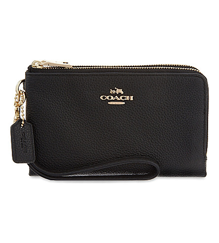 COACH Wristlet double leather wallet (Li/black