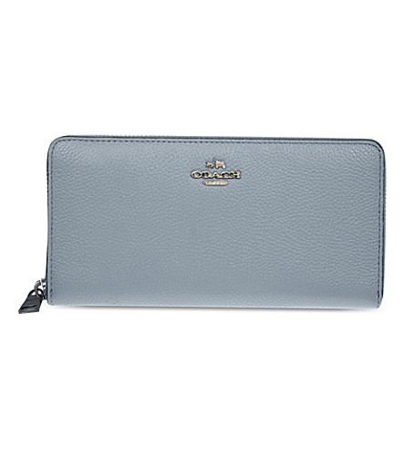 COACH Accordion zip-around leather wallet (Dk/cornflower