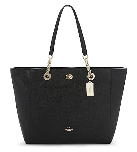COACH Turnlock leather tote (Li/black