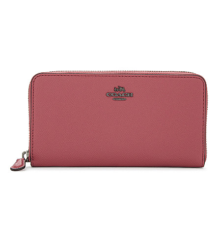 COACH Zip-around leather wallet (Dk/rouge