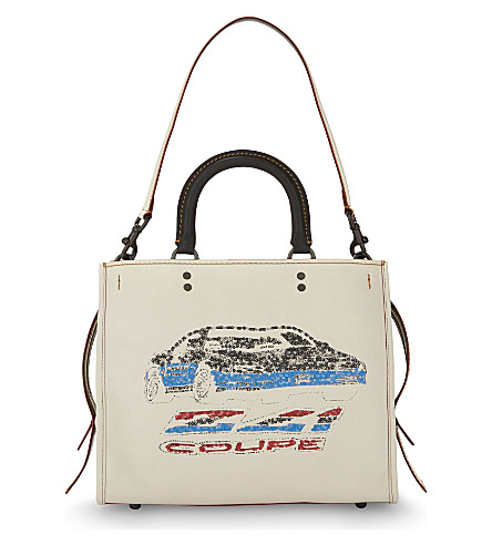 COACH Rogue embellished car glovetanned leather tote (Chalk