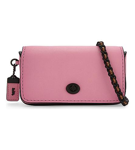 COACH Dinkier glovetanned leather cross-body bag (Neon+pink