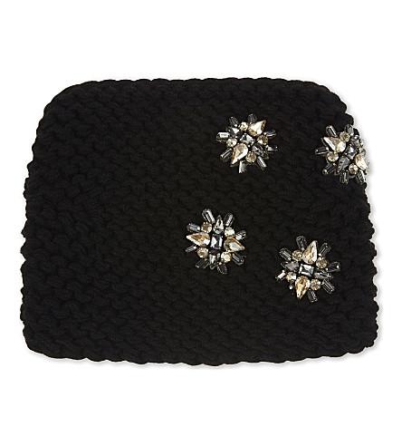 JENNIFER BEHR Neve alpaca embellished kerchief (Black