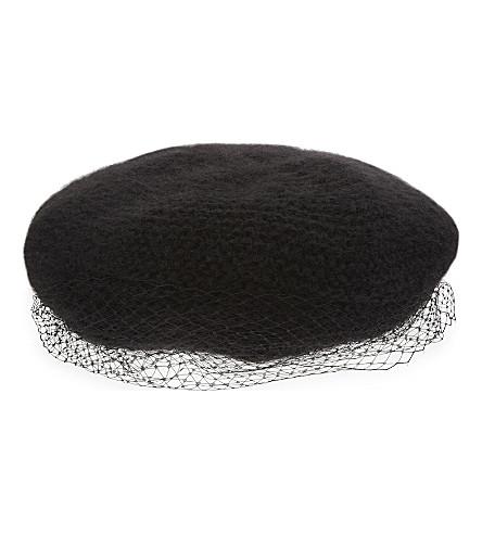 洱含蓄马海毛贝雷帽 (黑色