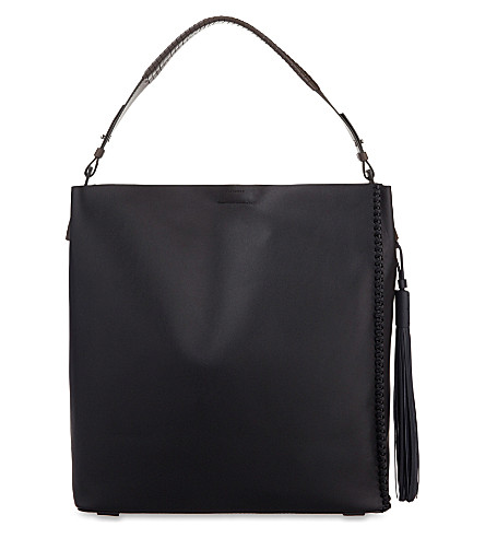 ALLSAINTS The Pearl tassel leather hobo (Black/grey/blue