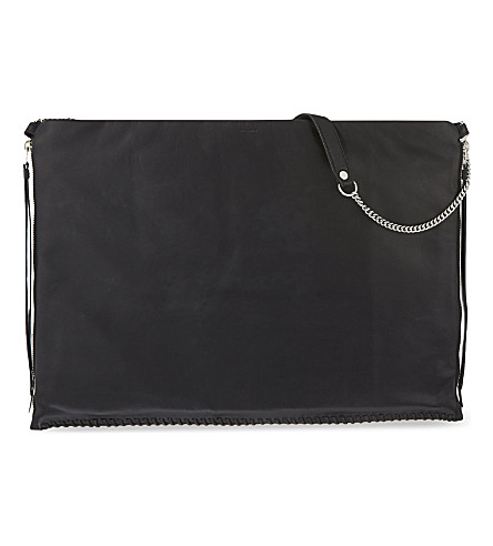 ALLSAINTS Fleur De Lis large leather shoulder bag (Black