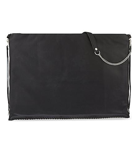 ALLSAINTS Fleur De Lis large leather shoulder bag (Black