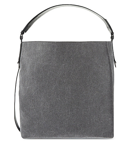 ALLSAINTS Paradise North South denim tote (Washed black/black