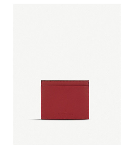 LES PETITS JOUEURS Open leather cardholder (Red