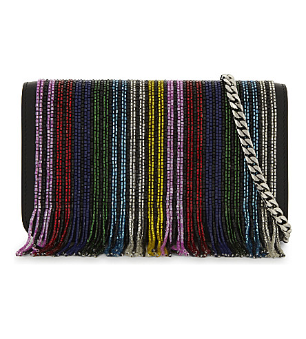 LES PETITS JOUEURS Ginny rainbow fringe leather cross-body bag (Multi