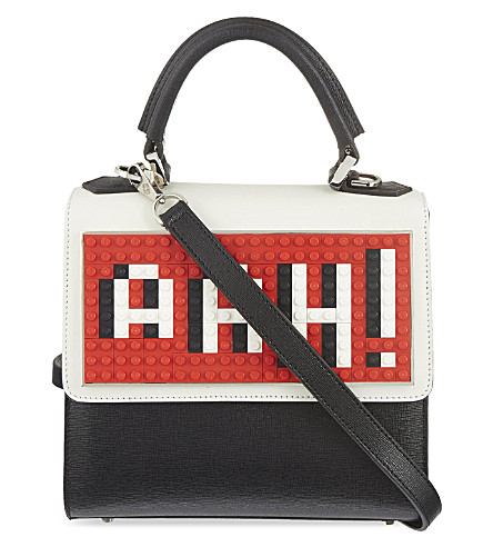 LES PETITS JOUEURS LEGO AAH! mini top handle shoulder tote (Black/red