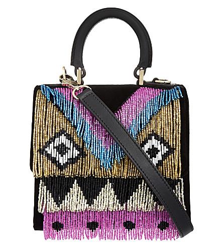 LES PETITS JOUEURS Alex disco fringe velvet handbag (Black