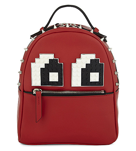 LES PETITS JOUEURS Micro Mick leather backpack (Red