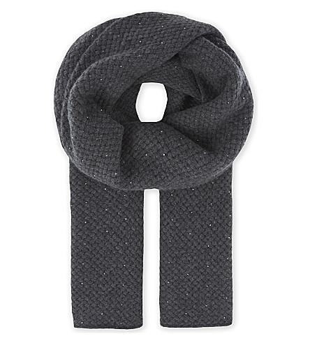 WILLIAM SHARP Mini diamond knit cashmere & Swarovski crystal scarf (Dark+grey