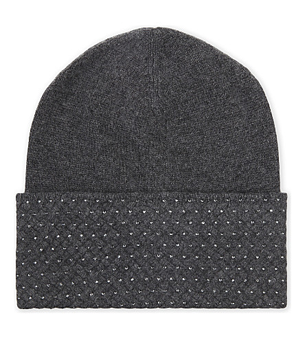 WILLIAM SHARP Crystal embellished beanie (Dark+grey