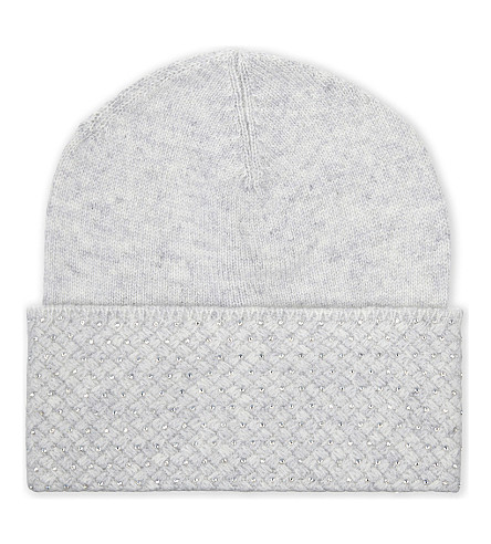 WILLIAM SHARP Crystal embellished beanie (Silver haze