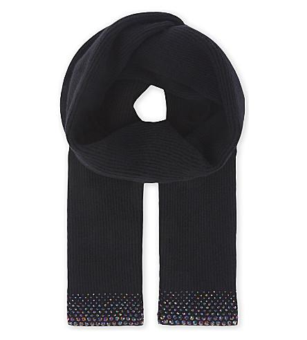 WILLIAM SHARP Medium ribbed cashmere scarf (Black