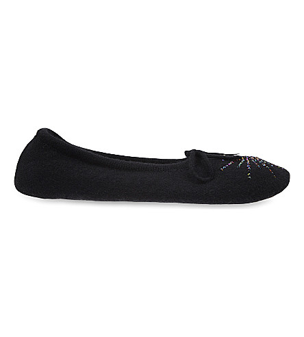 WILLIAM SHARP Crystal embellished cashmere slipper socks (Black