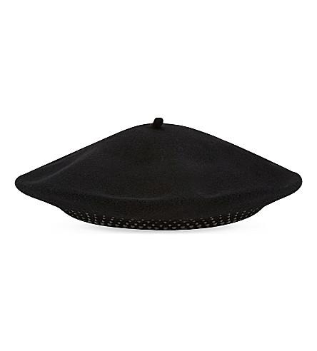WILLIAM SHARP Swarovski crystal wool beret (Black
