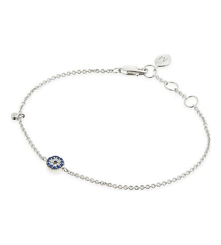 MISSOMA LTD Round Talisman 18ct gold Vermeil evil eye blue & white zircon bracelet (Silver