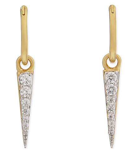 MISSOMA LTD Pave spike charm gold mini hoop earrings (Gold