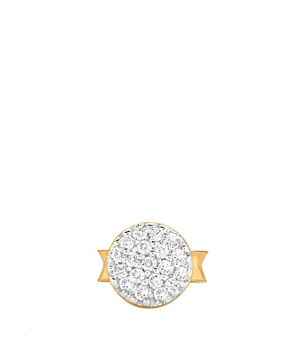 MISSOMA LTD 18ct gold vermeil and pavé zirconia round stud earring (Gold