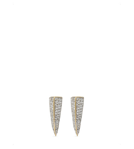 MISSOMA LTD Pave triangle dagger 18ct gold vermeil stud earrings (Gold