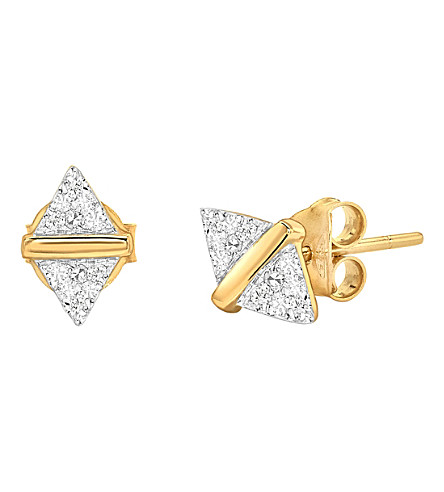 MISSOMA LTD Pave double arrow 18ct gold vermeil stud earrings (Gold