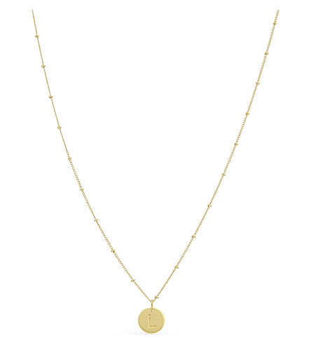 MISSOMA LTD L initial beaded 18ct gold vermeil necklace (Gold