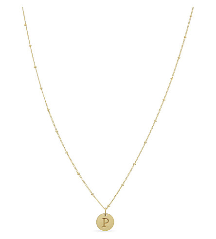 MISSOMA LTD P initial beaded 18ct gold vermeil necklace (Gold