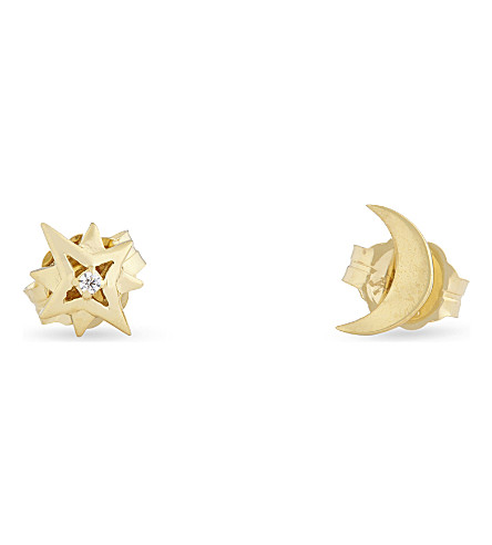 MISSOMA LTD Moon and star stud earrings (Gold