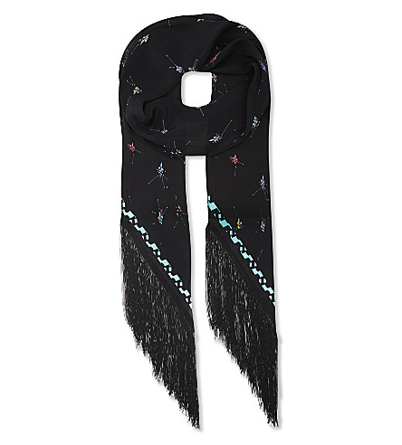 ROCKINS Fleur de Pop fringed silk scarf (Black