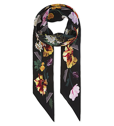 ROCKINS Floral super skinny silk scarf (Black