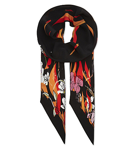 ROCKINS Floral flame silk skinny scarf (Black