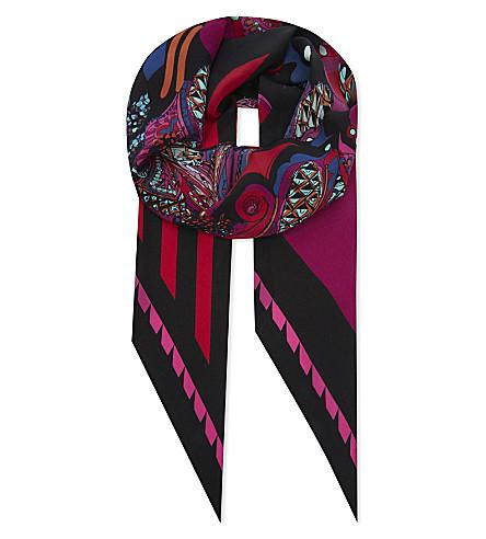 ROCKINS Pine Paisley skinny silk scarf (Pink