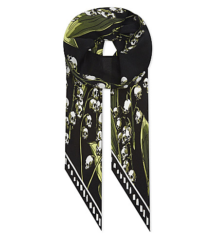 ROCKINS Skull-flower super skinny silk scarf (Black