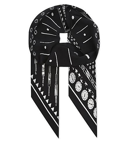 ROCKINS Music silk skinny scarf (Black