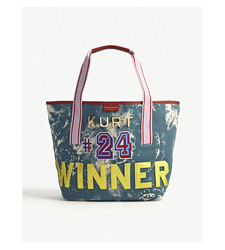 KURT GEIGER LONDON Daisy canvas shopper tote (Mid+blue