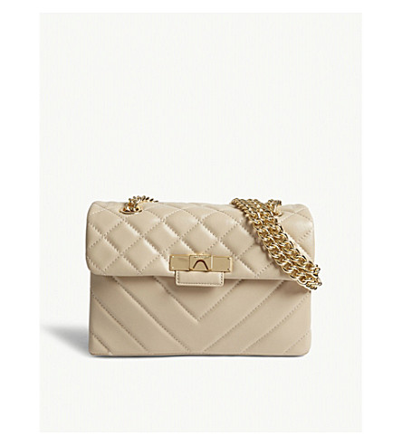 KURT GEIGER LONDON Quilted leather Mayfair cross-body bag (Beige