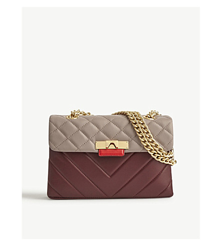 KURT GEIGER LONDON Kensington quilted leather shoulder bag (Wine+comb