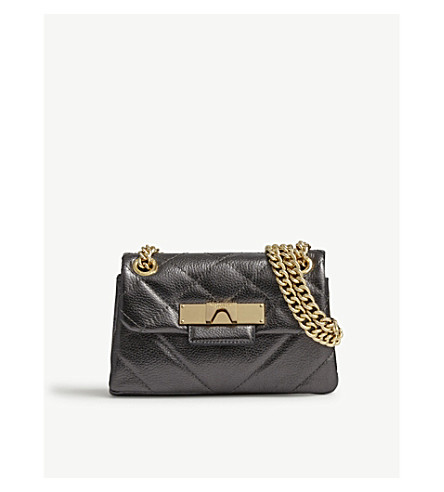KURT GEIGER LONDON Mini leather Mayfair cross-body bag (Gunmetal