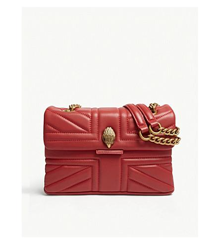 KURT GEIGER LONDON Kensington union jack leather shoulder bag (Red