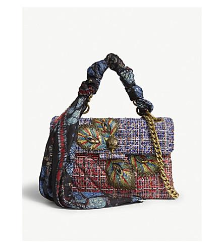 KURT GEIGER LONDON Kensington embellished tweed shoulder bag (Red+comb