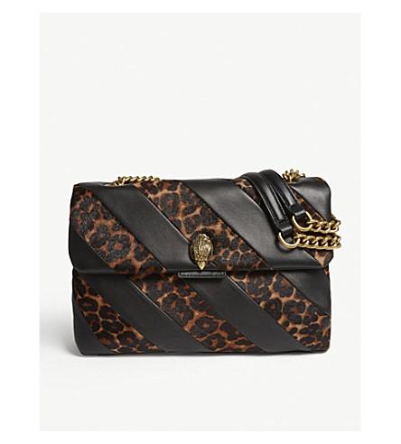 KURT GEIGER LONDON Striped leather and leopard spot large shoulder bag (Brown/oth