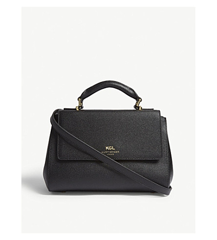 KURT GEIGER LONDON Richmond small textured leather satchel (Black