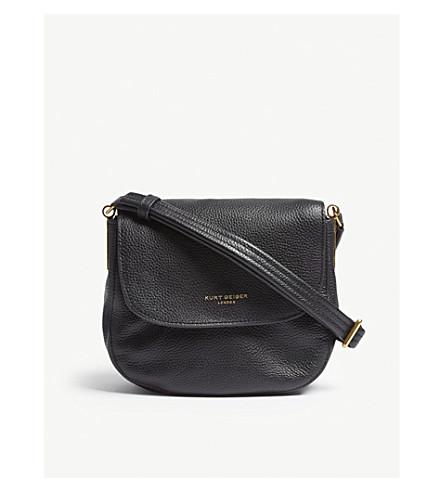 KURT GEIGER LONDON Emma leather small saddle bag (Black